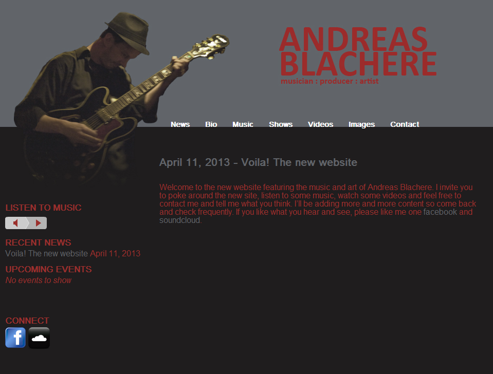 New music website for Andreas Blachere